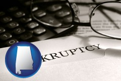 alabama a bankruptcy notice letter with calculator and eyeglasses