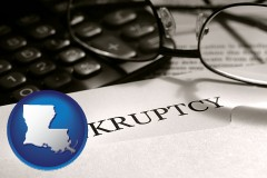 louisiana a bankruptcy notice letter with calculator and eyeglasses