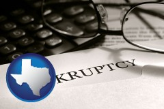 texas map icon and a bankruptcy notice letter with calculator and eyeglasses
