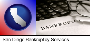 San Diego, California - a bankruptcy notice letter with calculator and eyeglasses